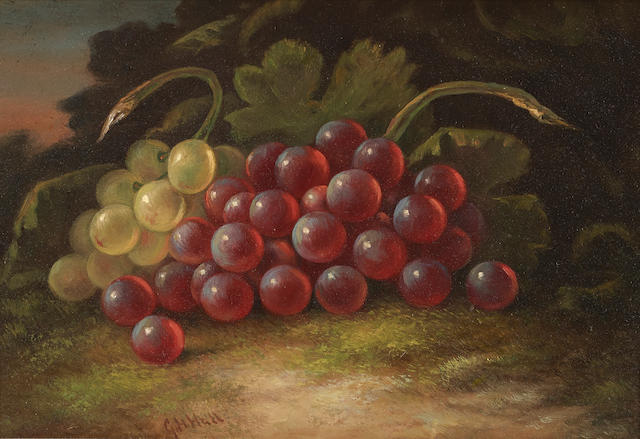 George Henry Hall (1825-1913) Purple and Yellow Grapes 7 1/2 x 10 3/4in