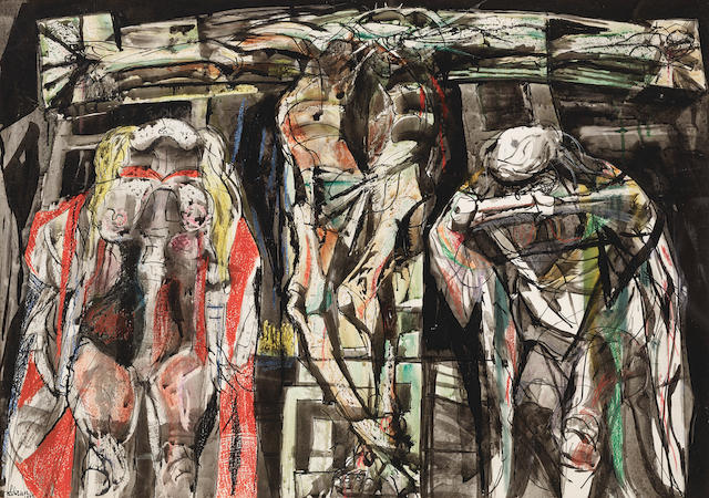 Rico Lebrun (1900-1964) The Crucifixion 32 x 46in (Executed in 1957.)