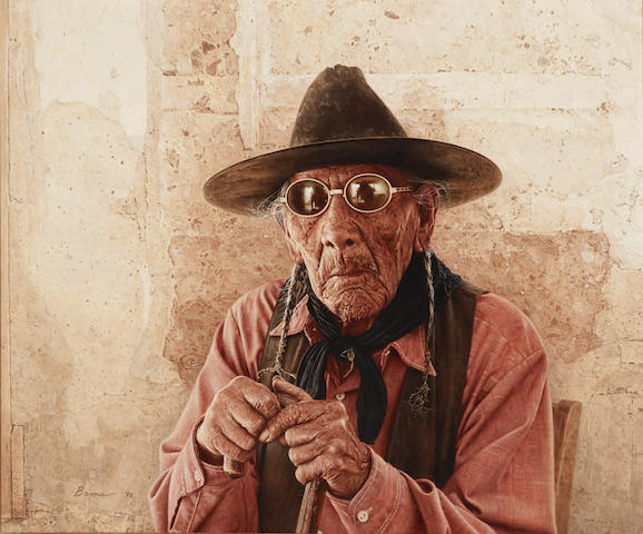 James E. Bama (born 1926) Francis Setting Eagle - Oldest Living Arapahoe, Wind River Reservation, Wyoming 20 x 24in (Painted in 1976.)