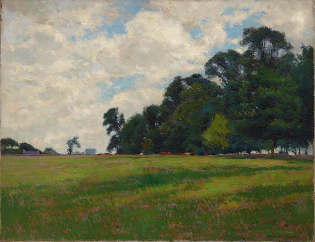 William Wendt (1865-1946) Kingsthorpe near Northampton, England 28 x 36in (Painted circa 1899.)