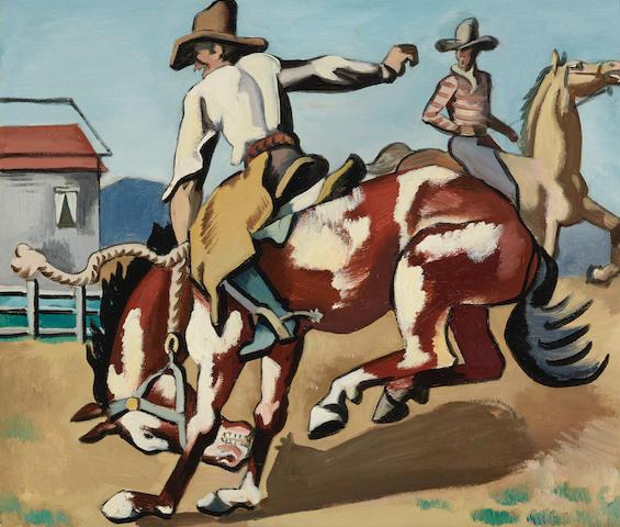 Jan Matulka (1890-1972) Rodeo Rider 19 3/4 x 23 3/8in (Painted circa 1917-1920.)