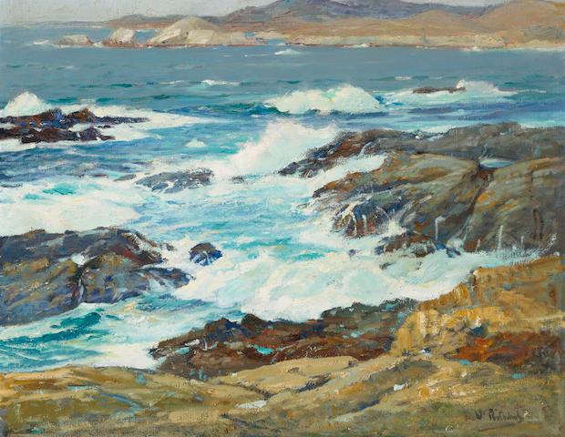 William Ritschel (1864-1949) At Carmel Highlands, Monterey Coast 22 x 28in