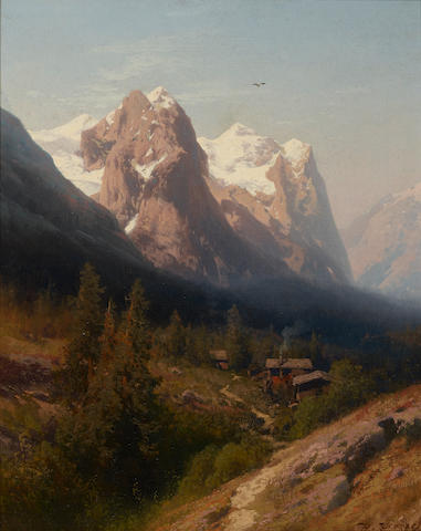Hermann Herzog (1832-1932) Cabin in the Mountains 20 x 16in