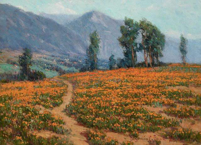 Benjamin C. Brown (1865-1942) Poppy Fields Near Pasadena 16 x 21 3/4in (Painted circa 1905.)