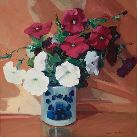 Jane Peterson (1876-1965) Petunias 24 x 24in