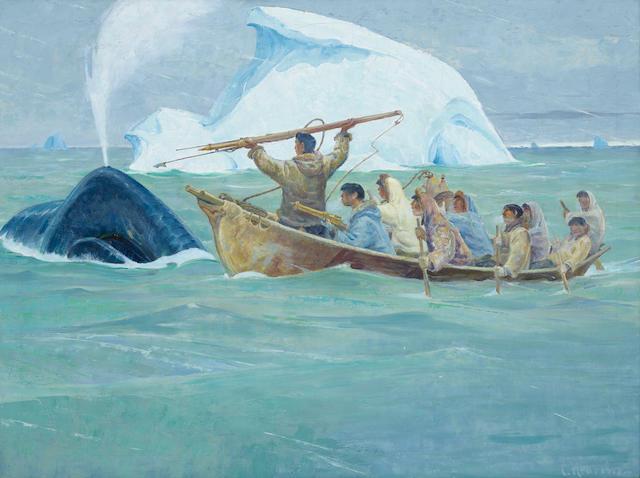 Magnus Colcord Heurlin (1895-1986) Eskimo Whaling Scene 27 x 36 1/4in