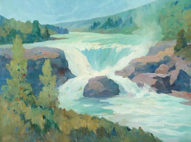 Theodore Roosevelt Lambert (1905-1960) Tanalion Falls, Tanalion River, Lake Clark, Alaska 18 x 24in (Painted in 1959.)
