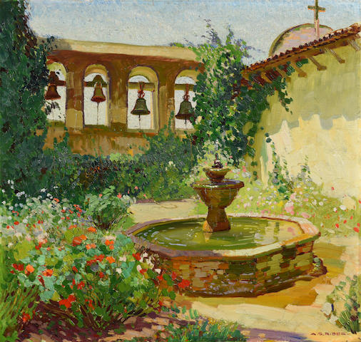 Arthur Grover Rider (1886-1975) Fountain, San Juan Capistrano Mission 22 x 23in