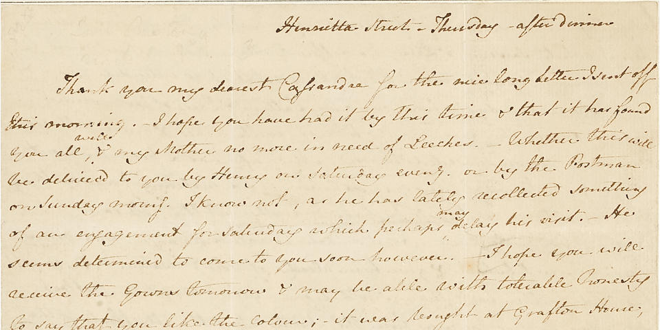 """The Poor Girls And Their Teeth!"" Jane Austen Letter At Bonhams New York Sale"