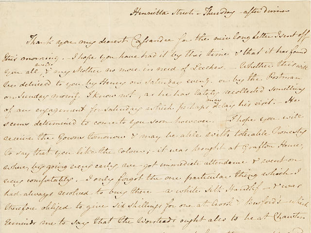 "AUSTEN, JANE. 1775-1817. Autograph Letter Signed (""J. Austen""), to her sister Cassandra, discussing their brother Edward's china from Wedgwood's, music lessons, the children's dentistry, and Mrs. Tilson's child-bearing among other intimate affairs,"