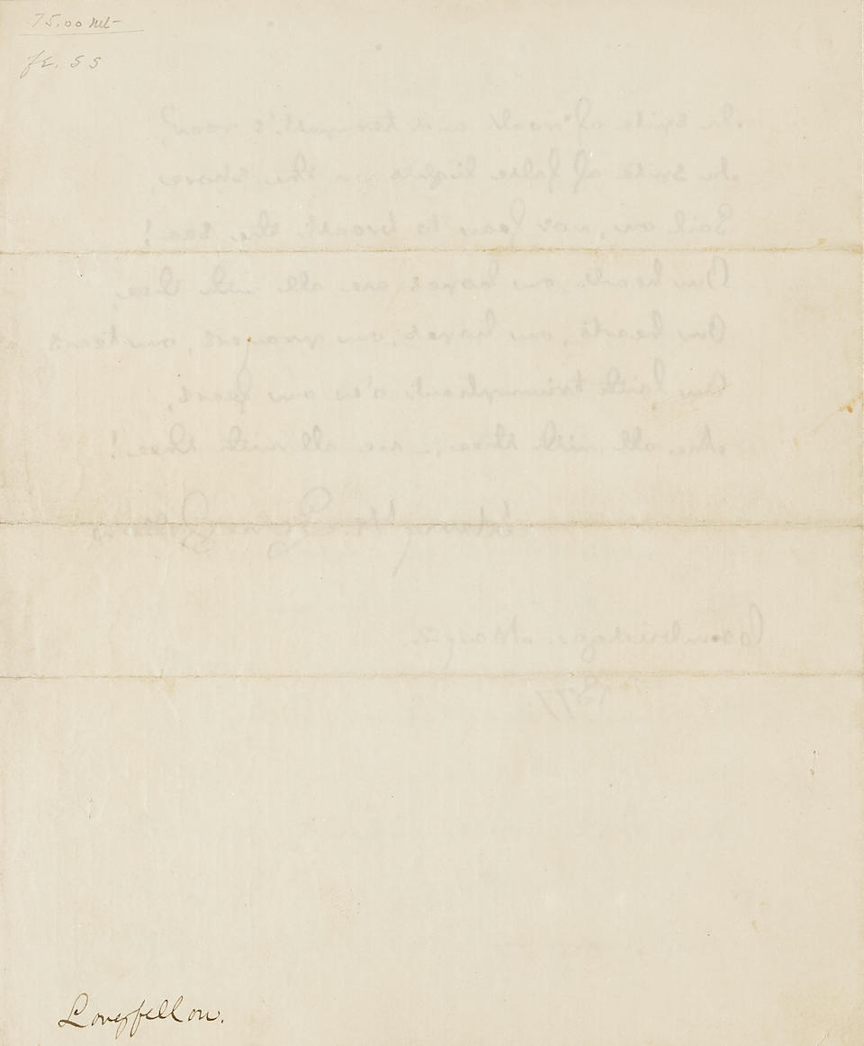 """LONGFELLOW, HENRY WADSWORTH. 1807-1882. Autograph Manuscript Signed (""""Henry W. Longfellow"""") the full text of """"The Ship of State"""" beginning """"Thou, too, sail on, O Ship of State,"""""""