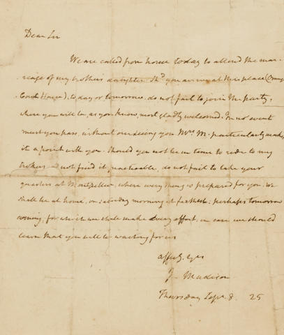 """MADISON, JAMES. 1751-1836. Autograph Letter Signed (""""J. Madison"""") to a prospective visitor to Montpelier,"""