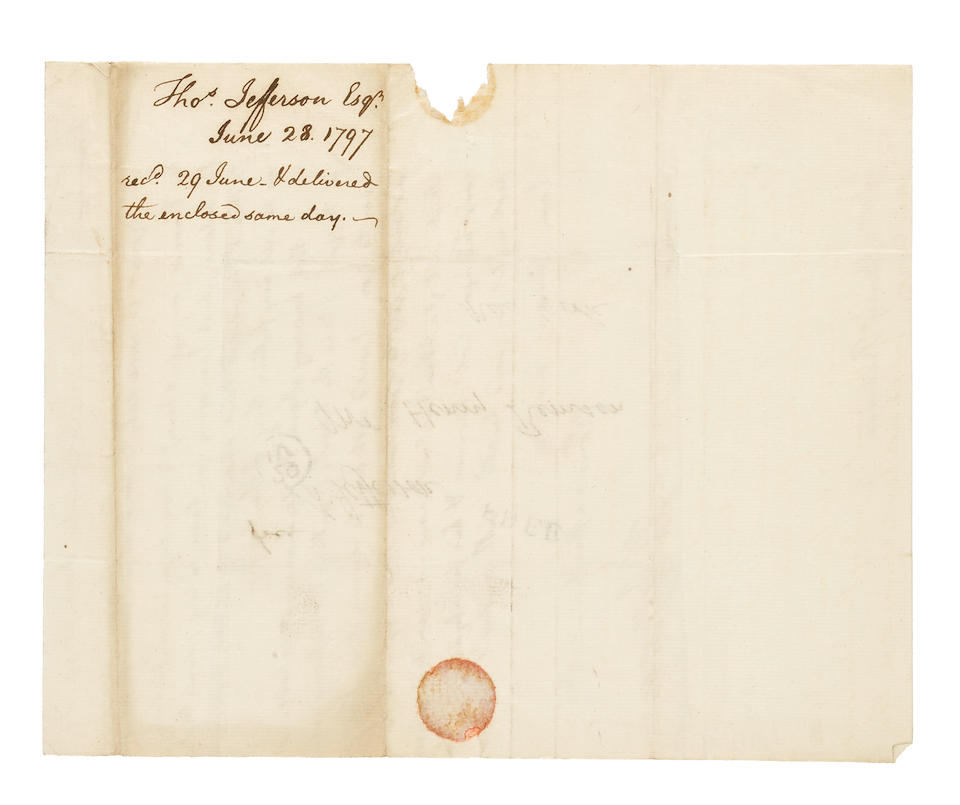"JEFFERSON, THOMAS. 1743-1826. Autograph Letter Signed (""Th Jefferson"") to Henry Remsen, discussing a debt and enclosing a letter (not present) for Liancourt [de Rochefoucauld],"
