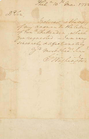 "WASHINGTON, GEORGE. 1732-1799. Autograph Note Signed (""Go Washington"") to Joseph Jones, transmitting a copy Washington's reply to Governor Chittenden of Vermont (not included),"