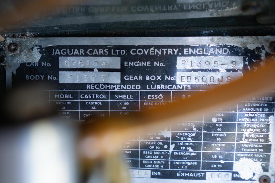 <b>1961 Jaguar E-Type Series 1 'External Bonnet-Latch'</b><br />Chassis no. 875274<br />Engine no. R1395-9