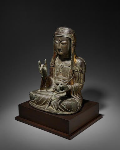 A RARE AND IMPORTANT Korean Gilt BRONZE FIGURE OF CHIJANG BOSAL (KSITIGARBHA) Goryeo dynasty (918-1392), 13th/14th century