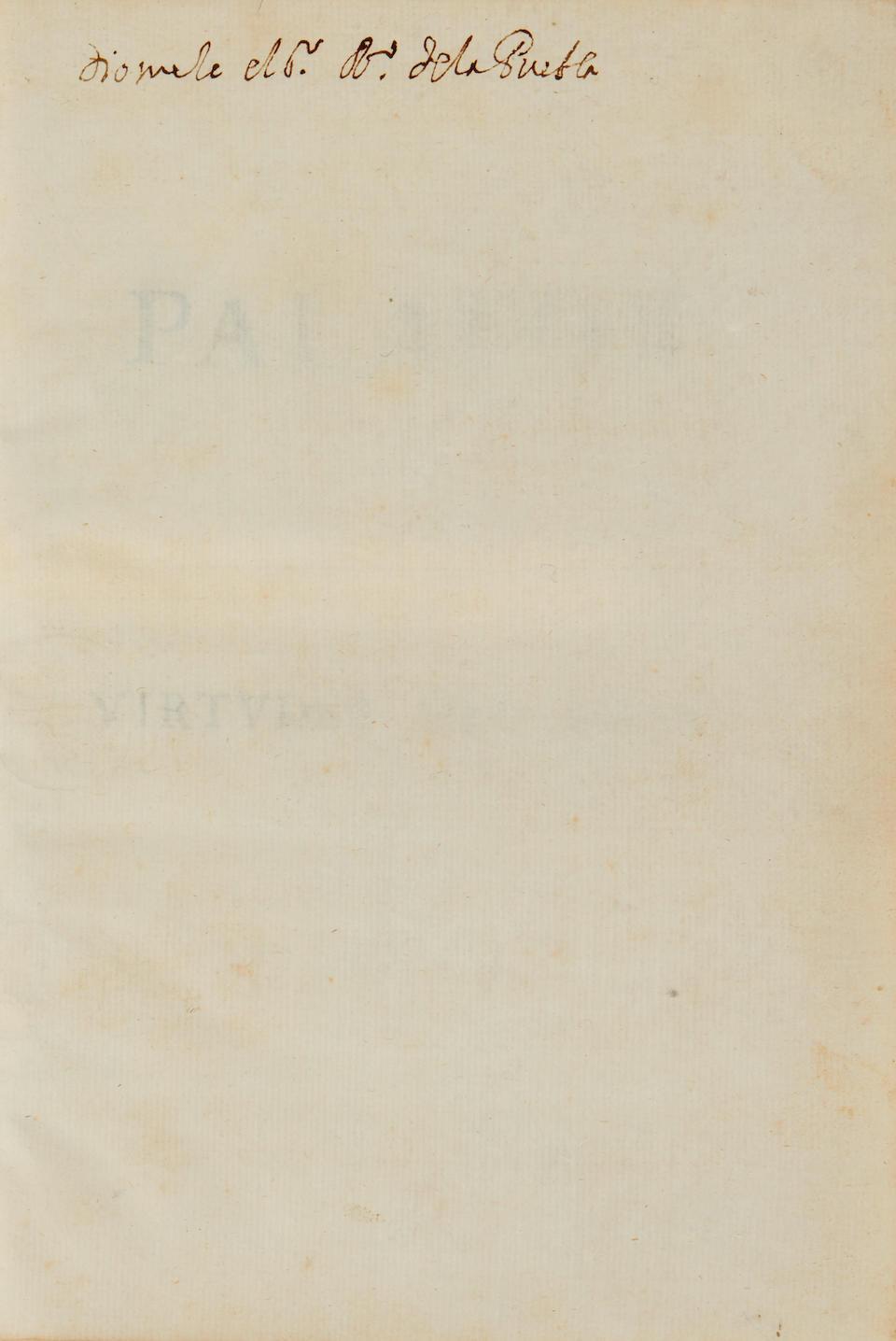PALAFOX Y MENDOXA, JUAN DE.  1600-1659.  [Virtudes del Indio....] N.p. (but Madrid?): 1650/51?]