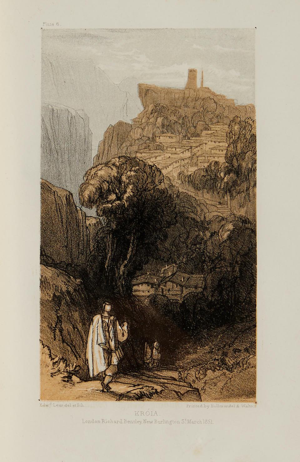 LEAR, EDWARD. 1812-1888. Journals of a Landscape Painter in Albania, &C. London: Richard Bentley, 1851.