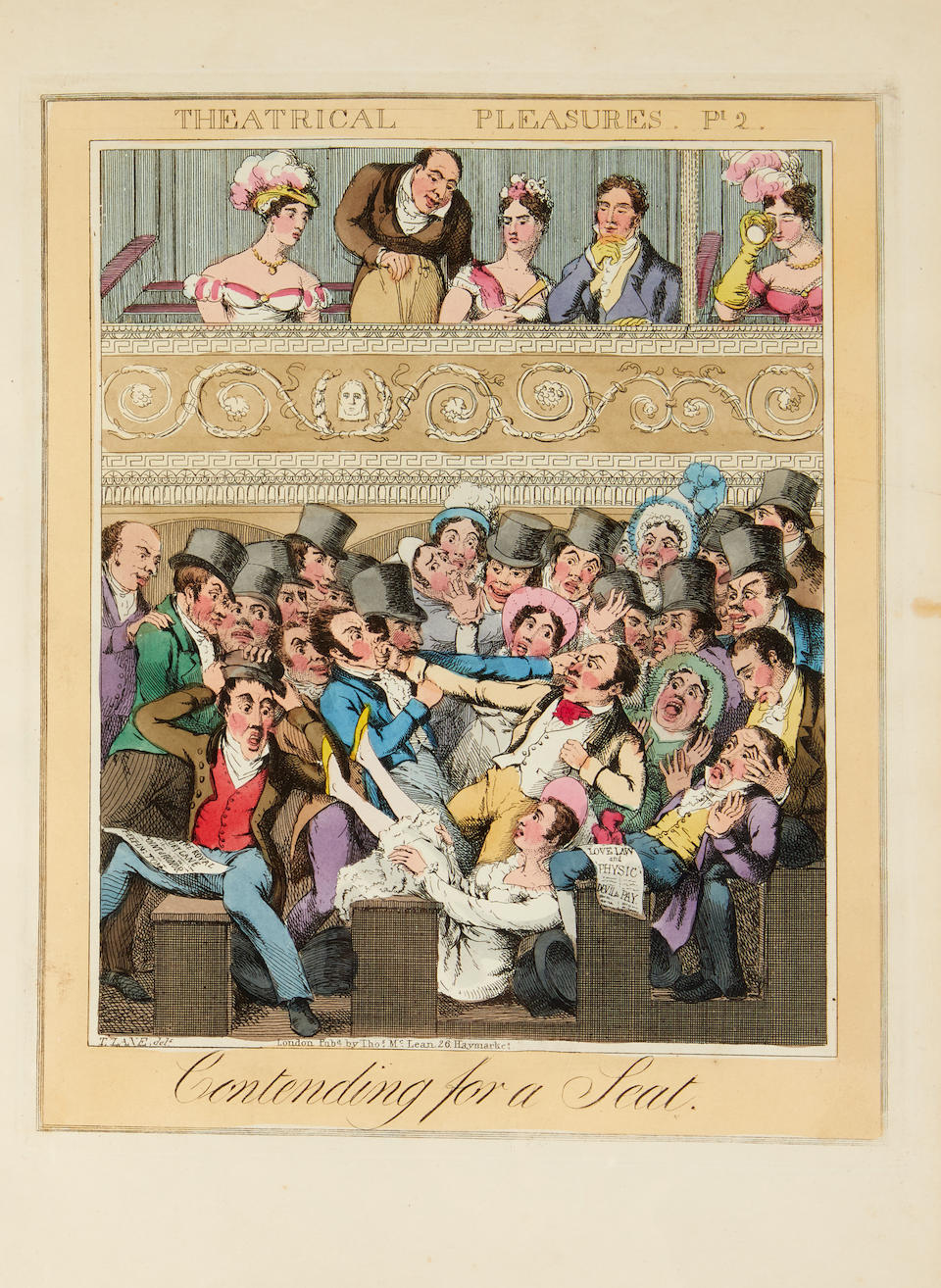 LANE, THEODORE. 1800-1828. Theatrical Pleasures. London: Thomas McLean, n.d. [c.1825].