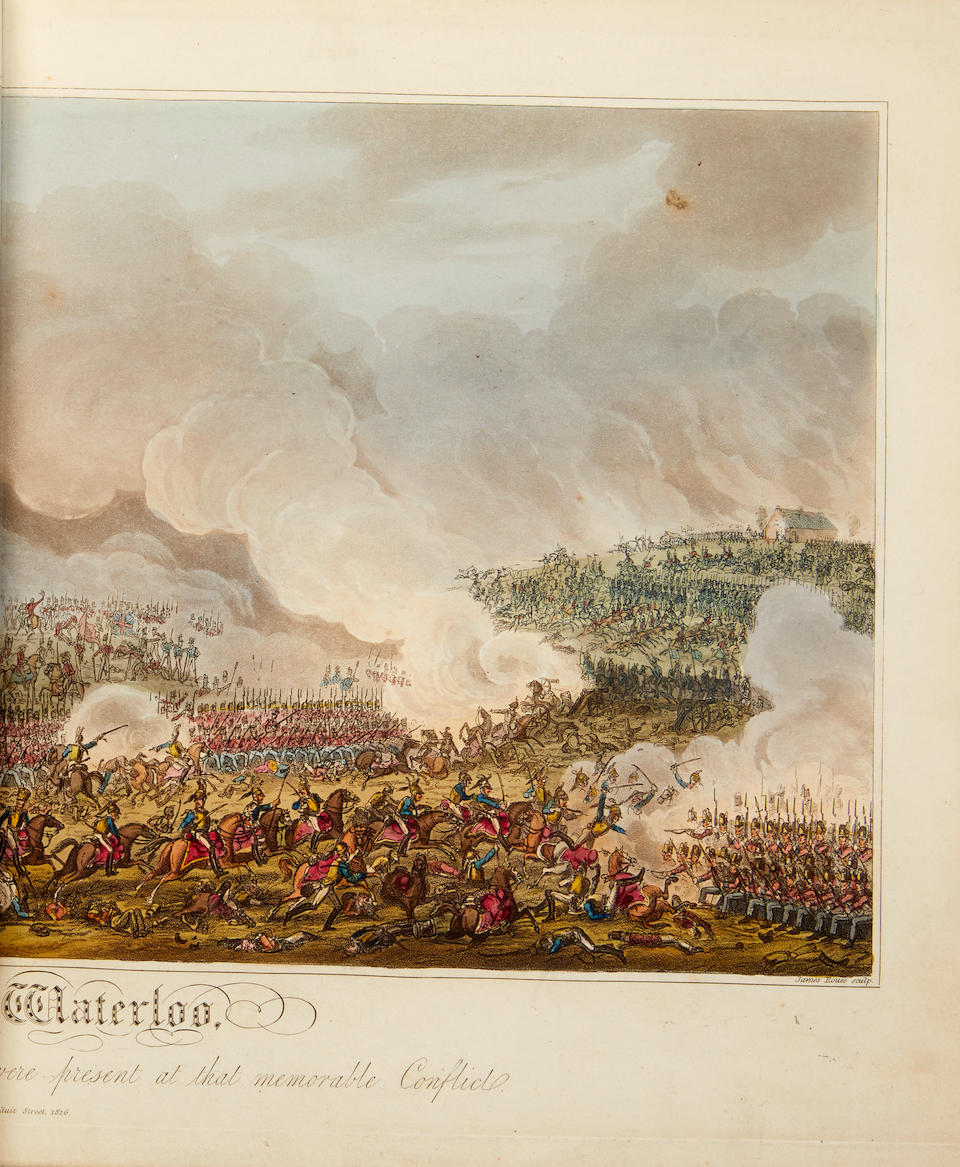 MUDFORD, WILLIAM. 1782-1848; and GEORGE CRUIKSHANK. 1792-1878, Illustrator. An Historical Account of the Campaign in the Netherlands, in 1815, Under His Grace the Duke of Wellington and Marshal Prince Blucher, Comprising the Battles of Ligny, Quartre Bras, and Waterloo. London: Henry Colburn, 1817.