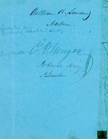 """LINCOLN, ABRAHAM. 1809-1865. Signature (""""A. Lincoln""""), on a leaf of blue paper, removed from an album, 190 x 147 mm"""