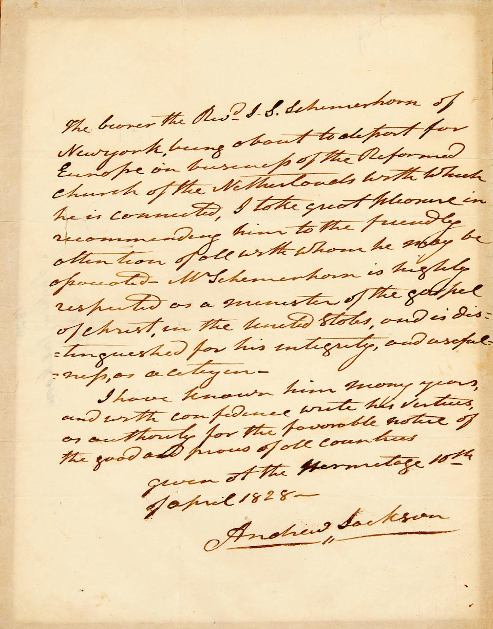 "JACKSON, ANDREW. 1767-1845.  Autograph Letter Signed (""Andrew Jackson"") as president, being a letter of introduction for Reverend John F. Schermerhorn,"