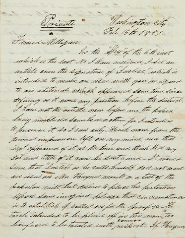 "JOHNSON, ANDREW. 1808-1875. Autograph Letter Signed (""Andrew Johnson"") to his political confidant Samuel Milligan, discussing Tennessee politics and the circumstances of the congressional race of 1849, marked ""Private,"""