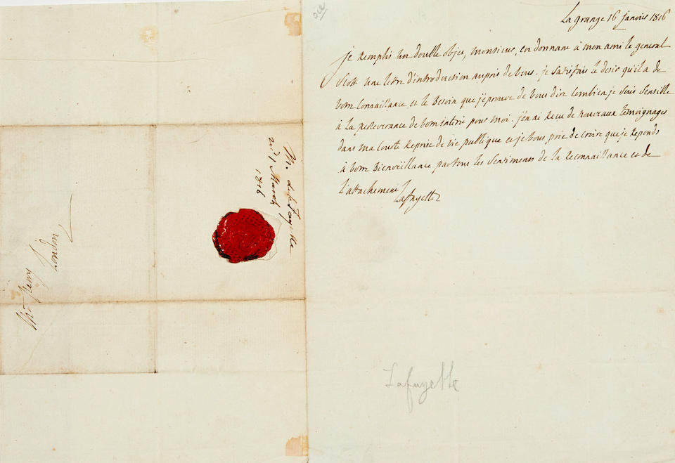 "LAFAYETTE, GILBERT DU MOTIER, MARQUIS DE. 1757-1834. Autograph Letter Signed (""Lafayette"") to a Mr. Perry, introducing General Winfield Scott during his European tour following the War of 1812,"
