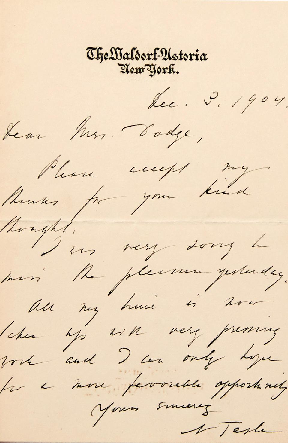 "TESLA, NIKOLA. 1856-1943. Autograph Note Signed (""N Tesla""),"