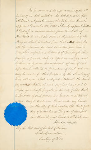"""LINCOLN, ABRAHAM. 1809-1865. Manuscript Document Signed (""""Abraham Lincoln"""") appointing William E. Dodge an allotment commissioner from the State of New York, 1 p,"""