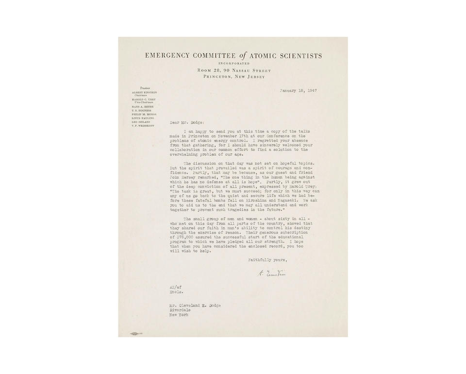 """EINSTEIN, ALBERT. 1879-1955. 4 Typed Letters Signed (""""A Einstein""""), with an additional TL featuring stamped signature, to Cleveland E. Dodge offering early reports on the meetings of the Emergency Committee of Atomic Scientists and soliciting funds, 6 pp total,"""
