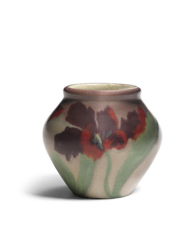 Rookwood Pottery Vase1901decorated by Constance Baker, matt glazed earthenware, stamped with the firm's marks, numbered '51CZ', with artist's initialsheight 7in (17.7cm); diameter 7 1/2in (19cm)