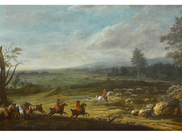 Jacques Bertaux (French, 1745-1818) The Duc d'Orleans and his suite hunting in the Ile de France 51 1/2  x 77 1/2in (130.8 x 196.9cm)