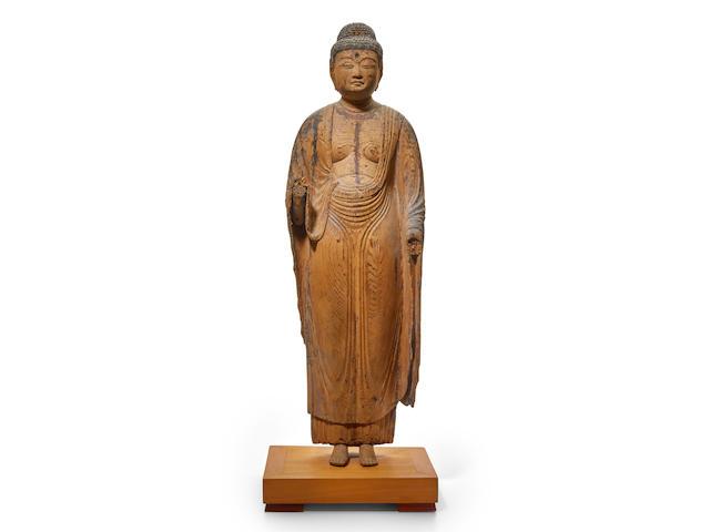 A standing wood figure of Amida Nyorai Heian period (794-1185), 9th/10th century