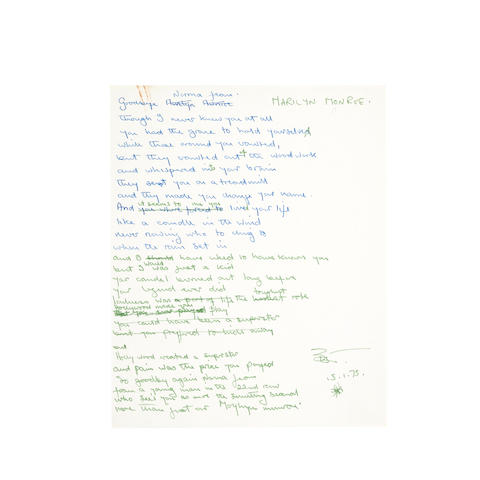 """ORIGINAL HANDWRITTEN LYRICS FOR THE ELTON JOHN SONG """"CANDLE IN THE WIND."""" TAUPIN, BERNIE.  Autograph Manuscript Initialed twice (""""BJT""""), 2 pp, 4to, January 14, 1973, here titled """"Marilyn Monroe"""" in block print,"""