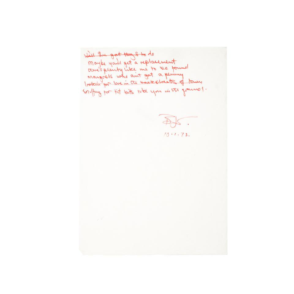 "ORIGINAL HANDWRITTEN LYRICS FOR ELTON JOHN'S ""GOODBYE, YELLOW BRICK ROAD."" TAUPIN, BERNIE.  Autograph Manuscript Initialed (""BJT""), 2 pp, legal folio, January 10, 1973,"