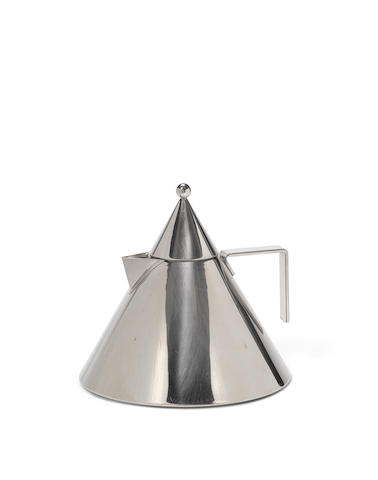 Aldo Rossi (1931-1997) Il Conico Kettledesigned 1986for Alessi, stainless steel, with Alessi stamp on undersideheight 8in (20.3cm); diameter 8 5/8in (21.9cm)