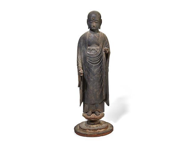 A Standing wood figure of Jizo (KSITIGARBHA) Muromachi period (1333-1573), 16th century