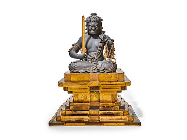 A polychrome wood figure of Fudo Myo-o (Acala) Muromachi period (1333-1573), 15th/16th century