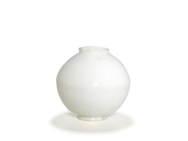 A glazed porcelain moon jar (dal hang-ari)  Joseon dynasty, 18th century
