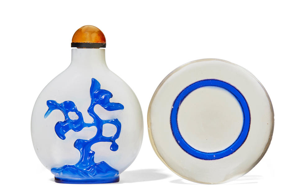 TWO BLUE OVERLAY GLASS SNUFF BOTTLES 1750-1850 (3)