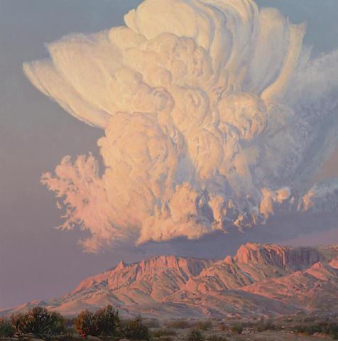 Wilson Hurley (1924-2008) Thunderstorm Building in the Sandias 48 x 48in (Painted in 1998.)