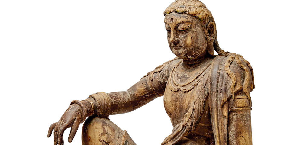 A CARVED WOOD FIGURE OF A BODHISATTVA Song/Jin dynasty
