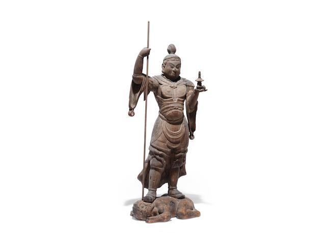 A large wood figure of Tamonten (Kubera) Heian period (794-1185), 12th century