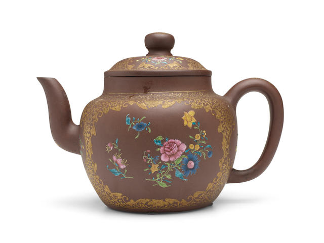 A LARGE AND UNUSUAL ENAMELED YIXING TEAPOT 19th century, signed Shao Yuanhua