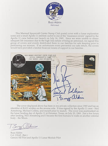 ALDRIN'S APOLLO 11 MOON LANDING CREW SIGNED POSTAL COVER.