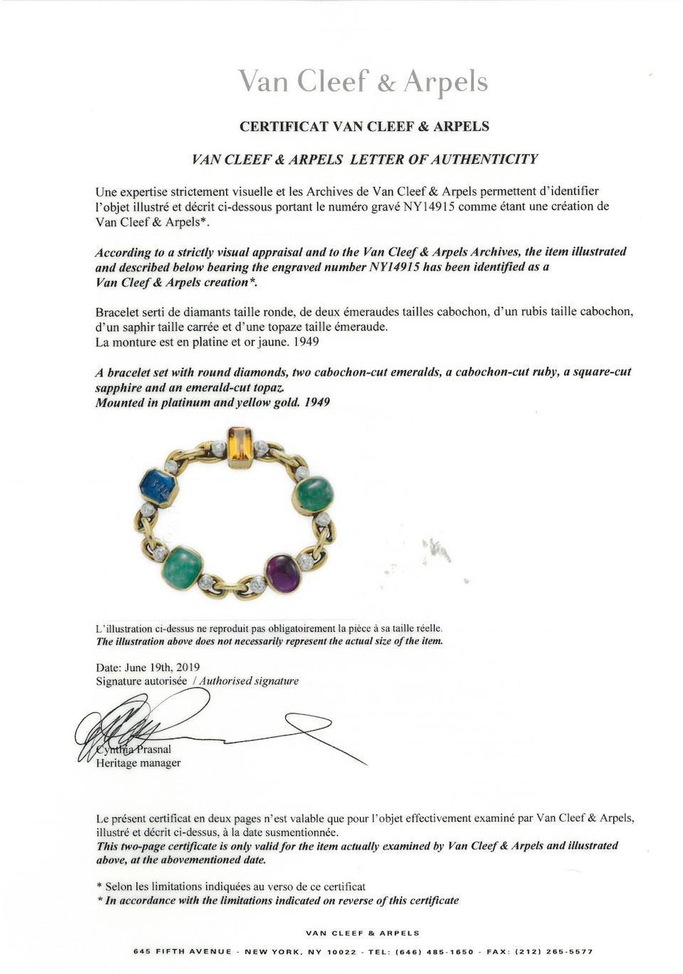 A diamond and gem-set bracelet, Van Cleef & Arpels,