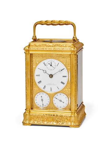A fine engraved gilt bell striking grande sonnerie repeating carriage clock with seconds indication, calendar and alarmRetailed by H. Moser & Cie., St. Petersbourg & Moscou Third quarter of the 19th century