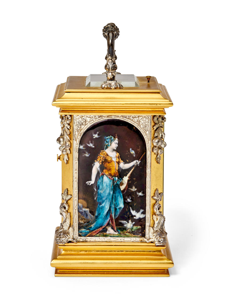 A very fine silvered and gilt petite sonnerie repeating carriage clock with Limoges enamel panels personifying AstronomyThe panels signed CP for Claudius Popelin, the movement with trademark P M in an anchor Last quarter 19th century