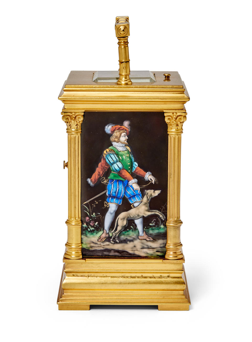 A fine gilt repeating carriage clock with Limoges panelsLast quarter 19th century